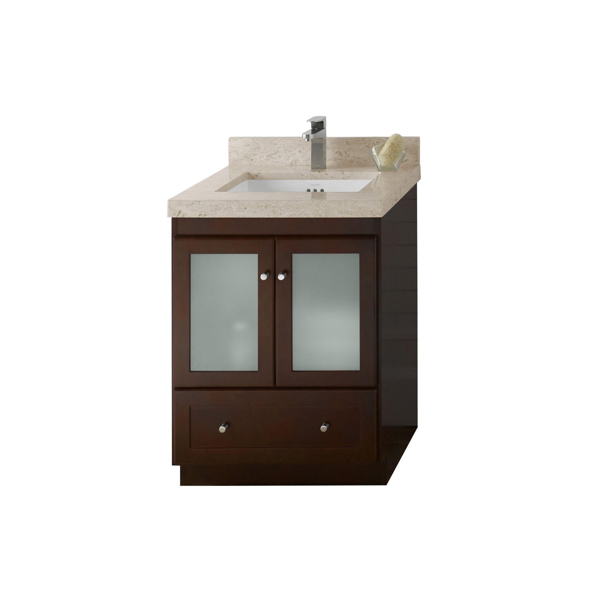 Ronbow Shaker 24 Inch Bathroom Vanity Set In Dark Cherry Marble