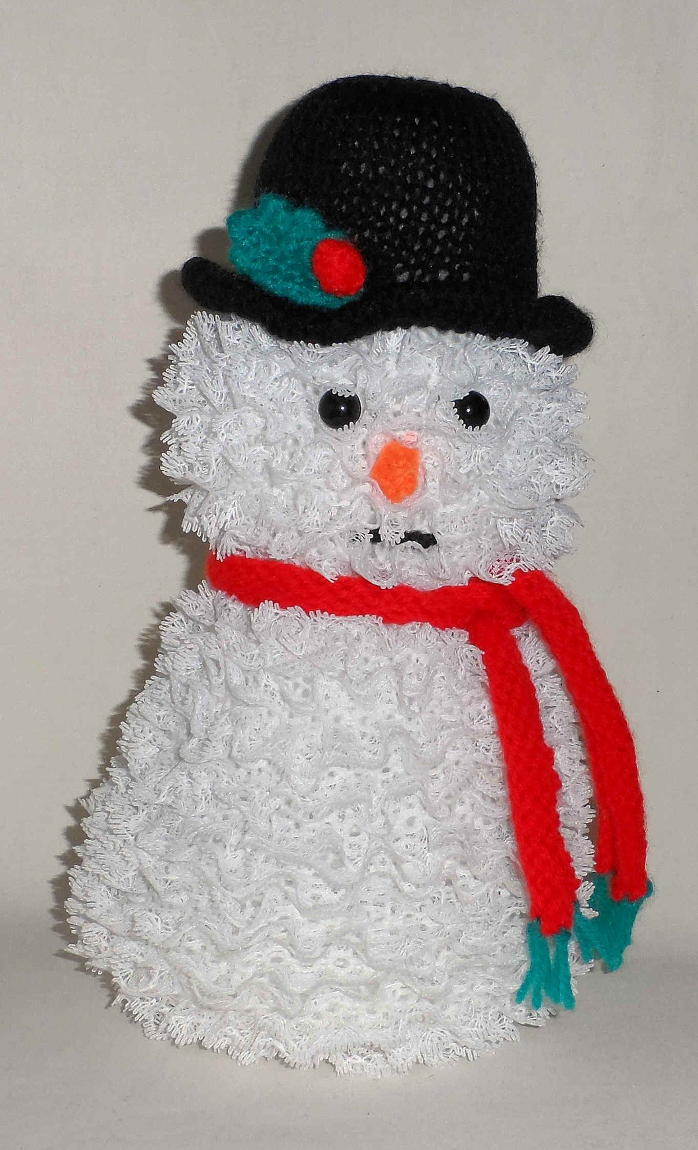 Crochet knitted snowman: photo, description, scheme 91