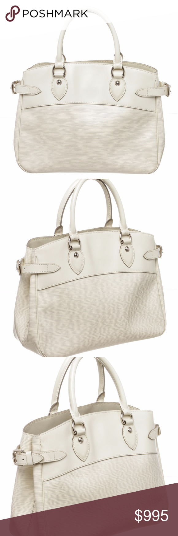85cd57b240e Louis Vuitton White Epi Leather Passy PM Bag Overall Clasp Closure.  Interior is fabric lined