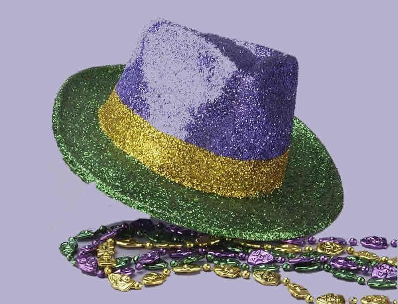 e781e85d80071 Mardi Gras Glitter Gangster Fedora Hat - Party Depot