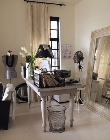 Black and White Studio    In a penthouse studio apartment overlooking Gramercy Park, designer Ellen O'Neill used a corner to serve as her office space. The farm table she uses as a desk is cleared off and used for a dining table when she entertains.