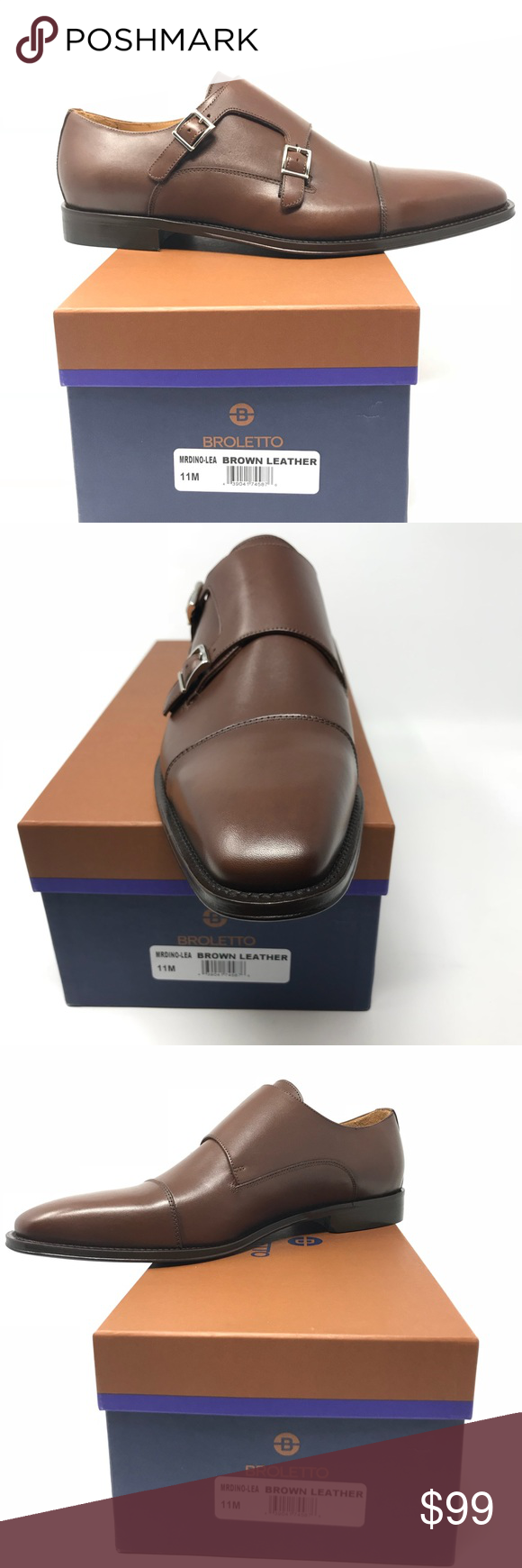 233960ba1bb Broletto Italian Leather Men s Shoes Broletto Mens Brown Leather Shoes Size  11 M New Made In Italy Double Monk Strap Box Included Please see all  pictures.