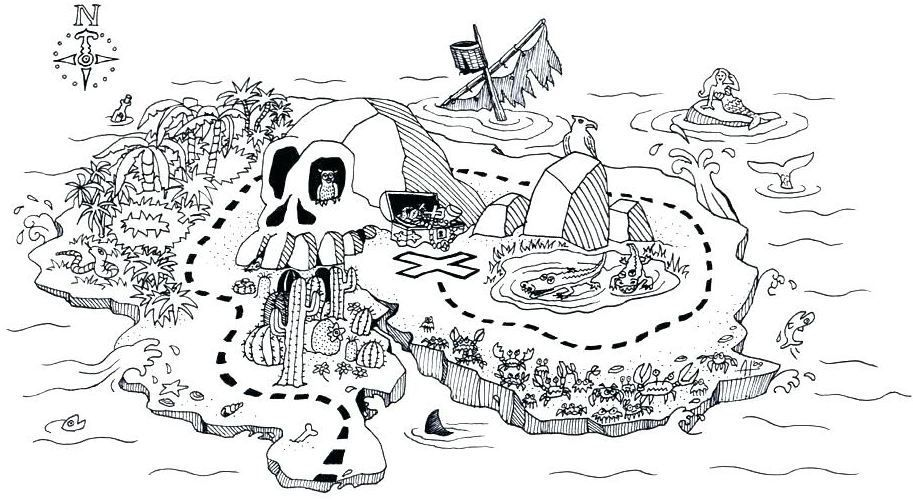 Coloring Page Base Treasure maps, Coloring pages