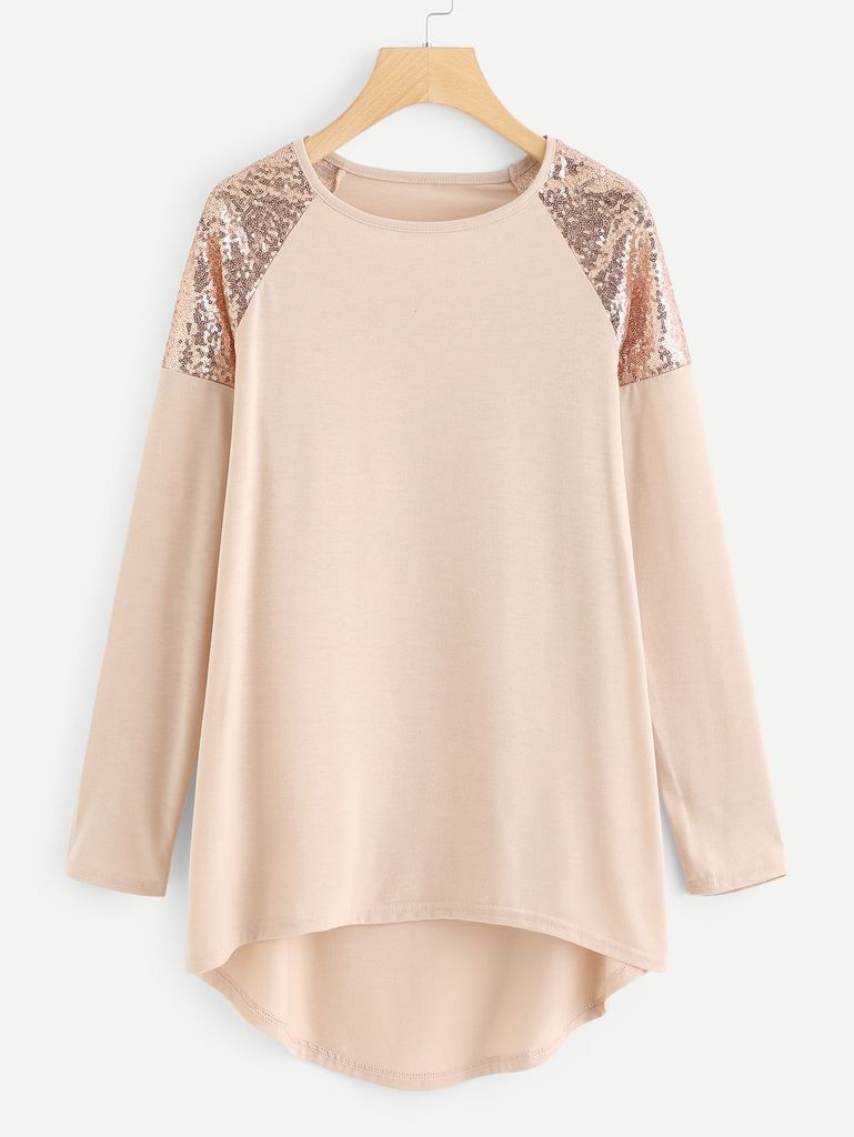 Contrast Sequin Dip Hem Longline Tee Yashry Asymmetrical Tee Plus Size T Shirts Fashion