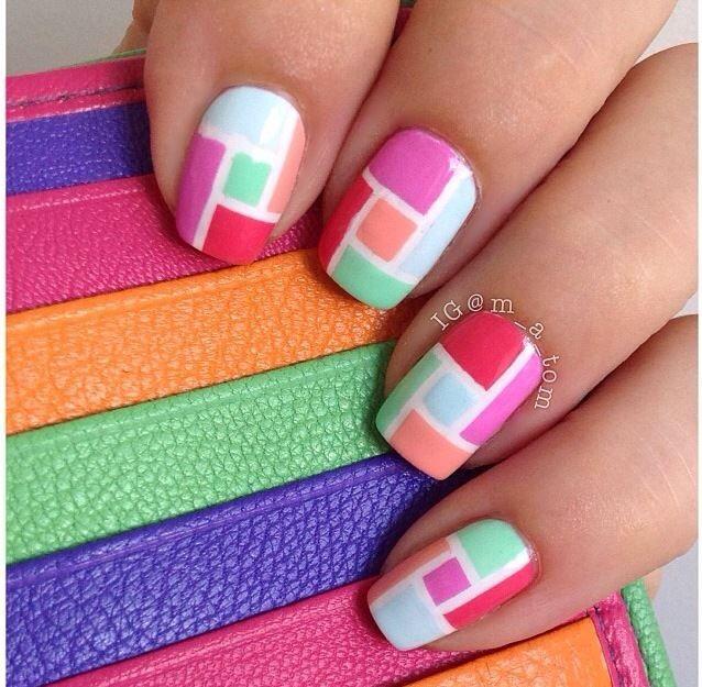 color block mosaic nails