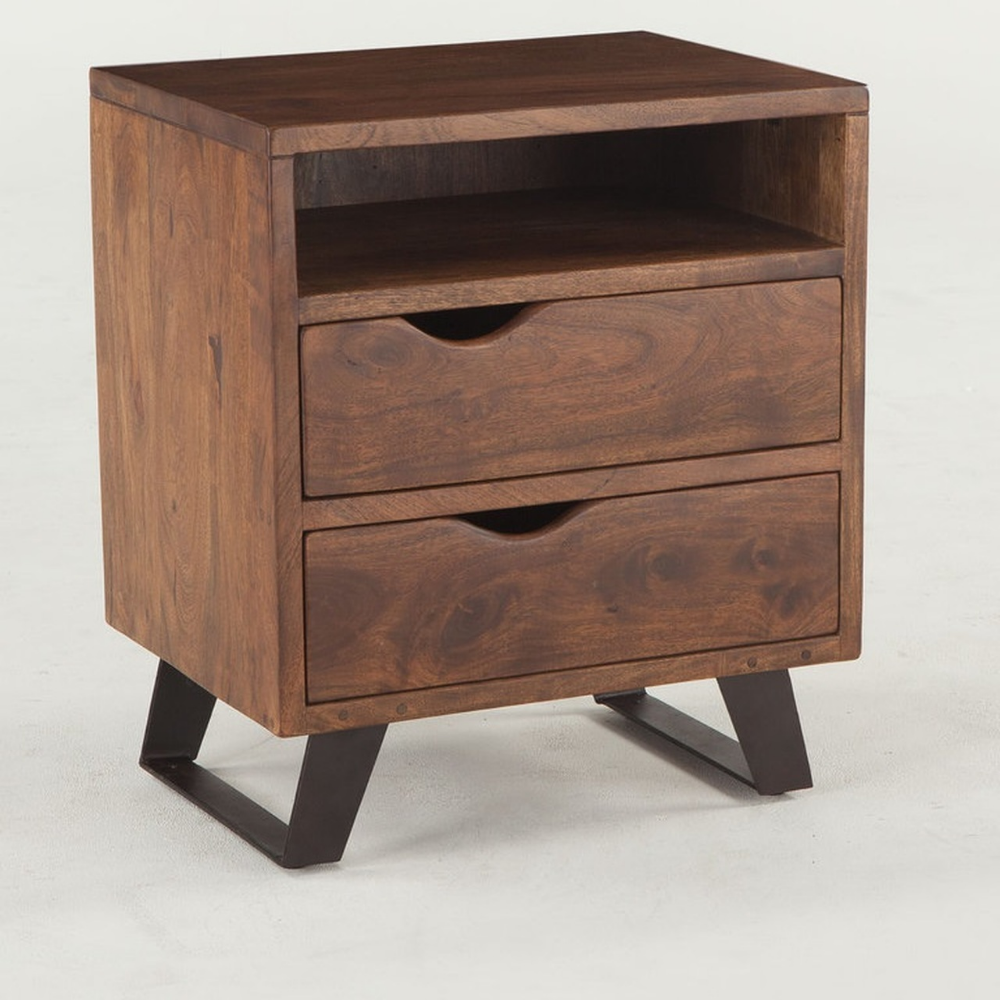 Brooklyn Loft Solid Wood 2 Drawer Nightstand In 2020
