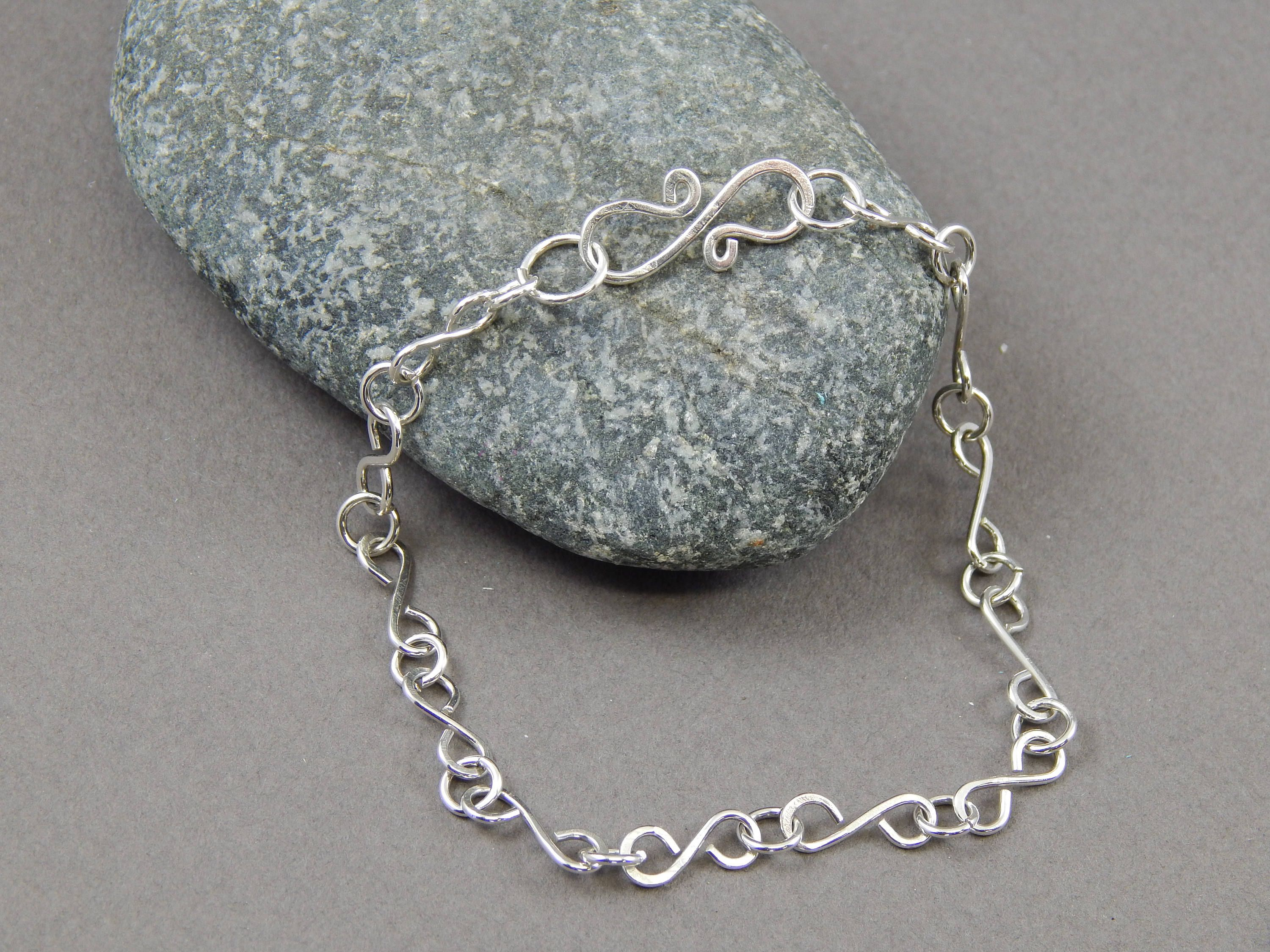 bracelet silver handmade link in sterling fancy