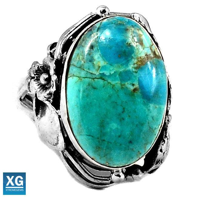 Native American Reproduction Blue Turquoise 925 Ring Jewelry s.7.5 SR40187