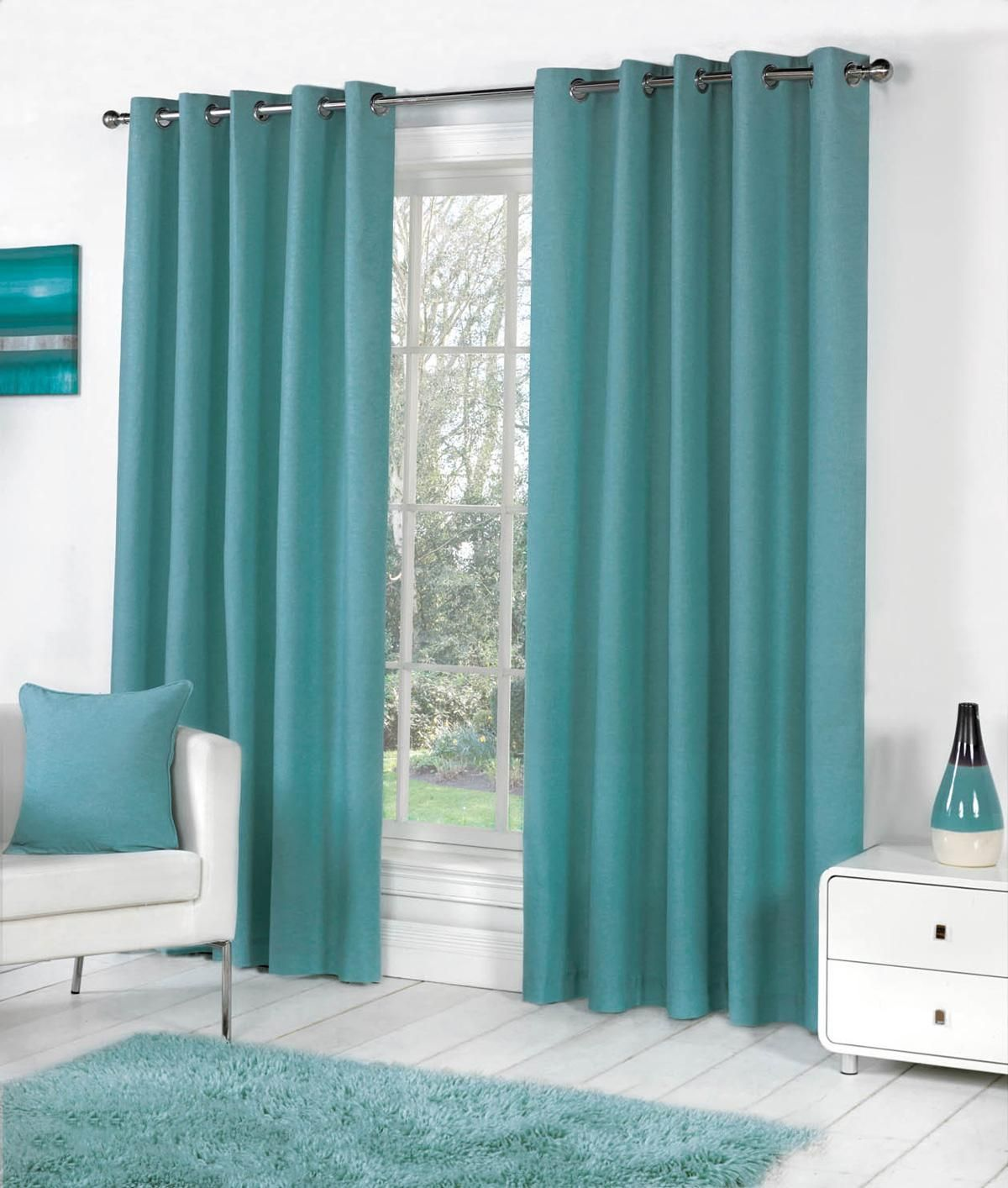 Images Of Full Length Teal Coloured Designer Curtains