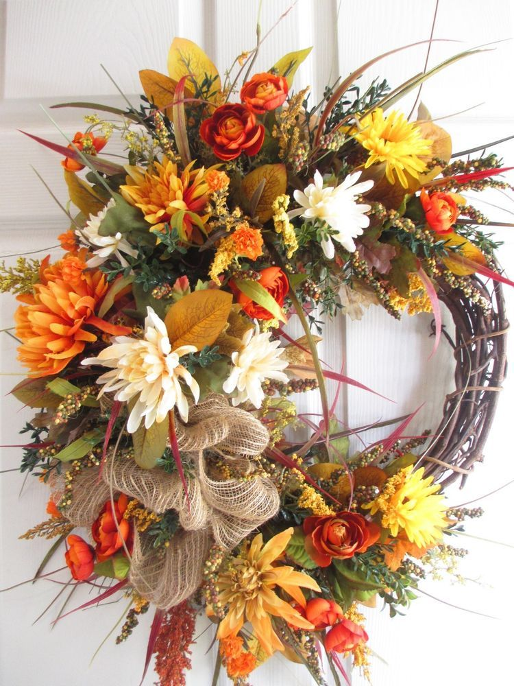 Big Blowout Clearance Handmade Fall Floral Wreath Door