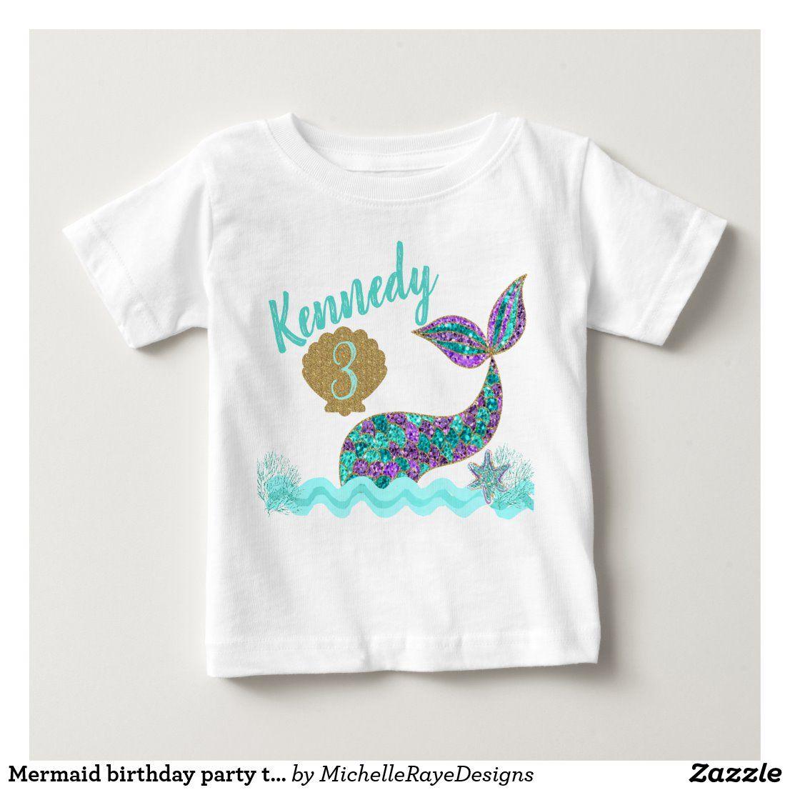Mermaid birthday party tshirt, custom baby TShirt