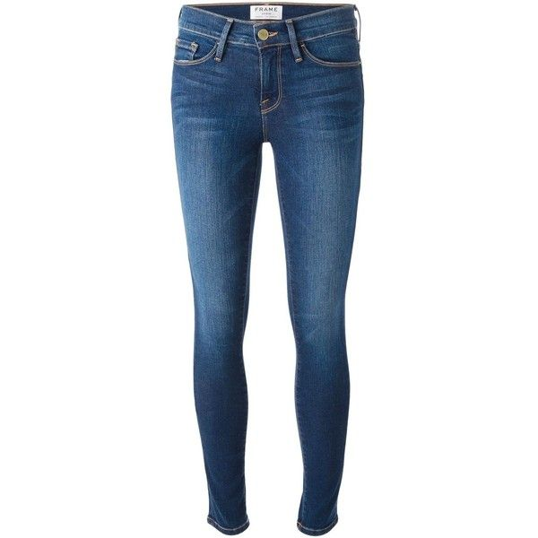 Frame Denim skinny jeans (760 SEK) ❤ liked on Polyvore featuring jeans, pants, bottoms, blue, skinny jeans, frame denim, skinny leg jeans, blue jeans and cut skinny jeans