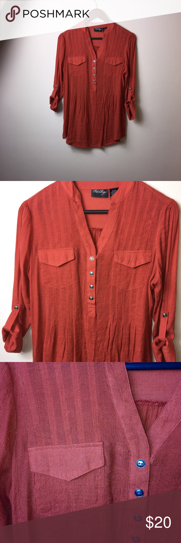 Pat Rego burnt orange roll sleeve tunic blouse S Gorgeous top, perfect condition. No snags stains or holes. 65% rayon and 35% polyester. Machine wash cold. Gentle cycle pat rego Tops Tunics