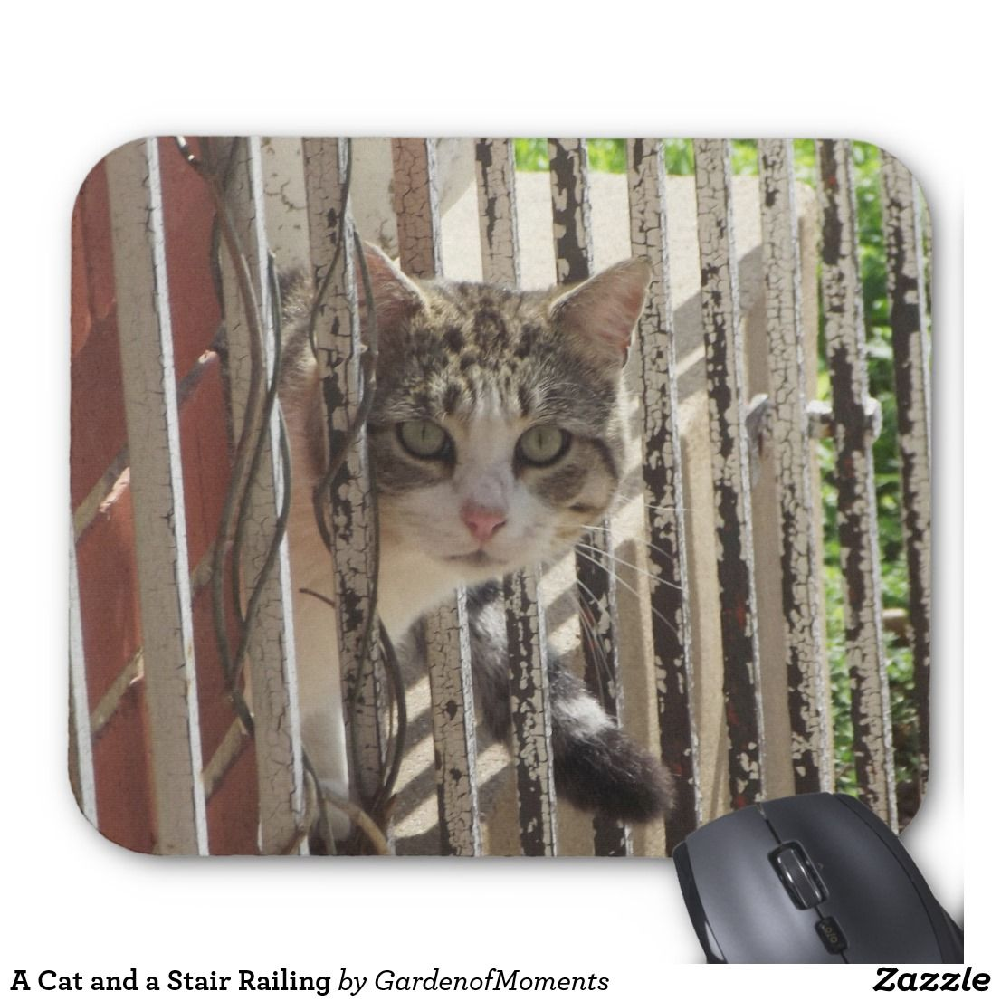 A Grey And White Tabby Cat Peeking Around A Stair Railing Mouse Pad Designed By Garden Of Moments White Tabby Cat Tabby Cat Cat Mouse