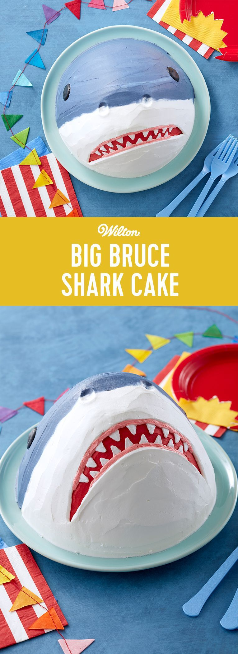 Big Bruce Shark Cake - How Jaw-some is this cake?! Made using the Wilton Wonder Mold Pan, this Big Bruce Shark Cake is ready to take a bite out of your next birthday celebration! Great for decorators who are looking for some serious shock value, this shark cake can be made with just a handful of supplies and is sure to be a blockbuster at your next summer party! kids cakes Big Bruce Shark Cake