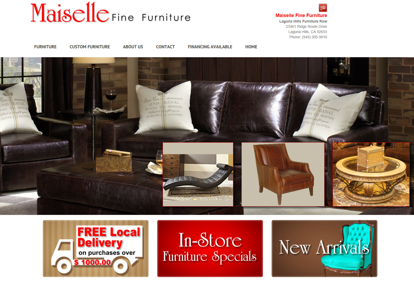 Orange County Web Design Marketing Agency 1ez Consulting Latest Success Maie Fine Furniture Laguna Hills Visit