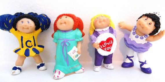 Vintage Cabbage Patch Kids Figurines 1980s Miniature Doll Figures Set Of 4 Cabbage Patch Kids Dolls Cabbage Patch Kids 80s Girl Toys