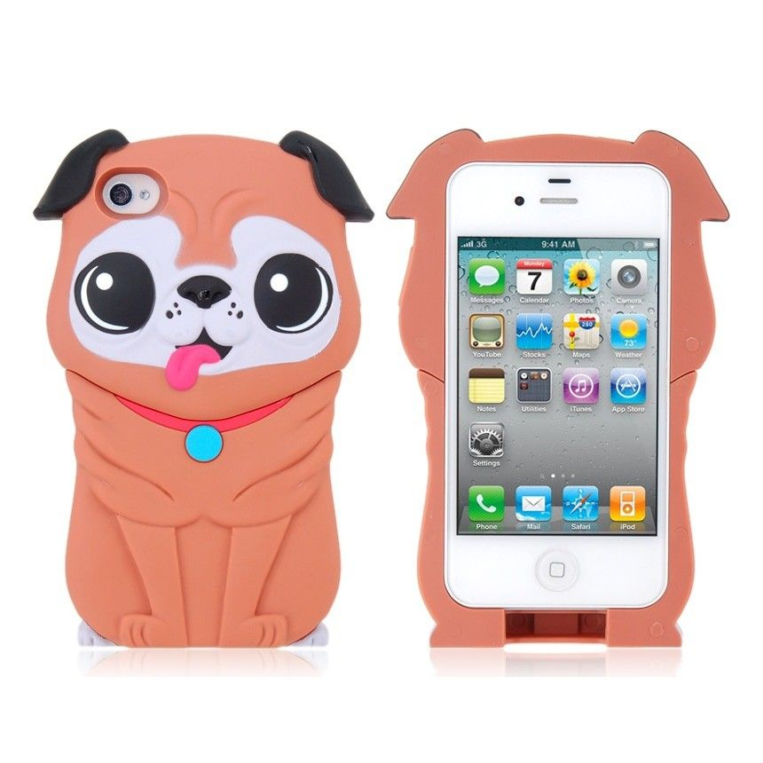 Iphone cases 3d pug shape detachable protective case for for Grove iphone 4 case