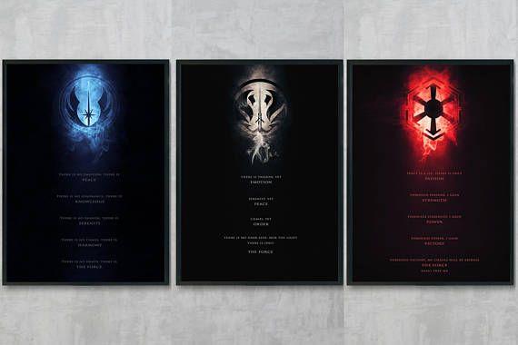 Jedi Code Art Print Sith Code Poster Print Star Wars Wall Art
