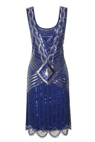BLUE SEQUIN CHARLESTON FLAPPER uk 8 10 GATSBY dress 20's ART