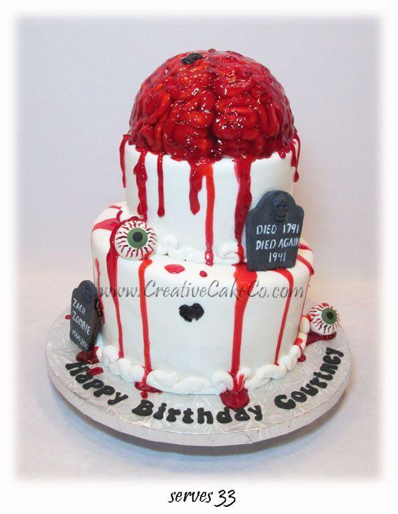 2 tier brain zombie cake by Creative Cake Co Halloween Food