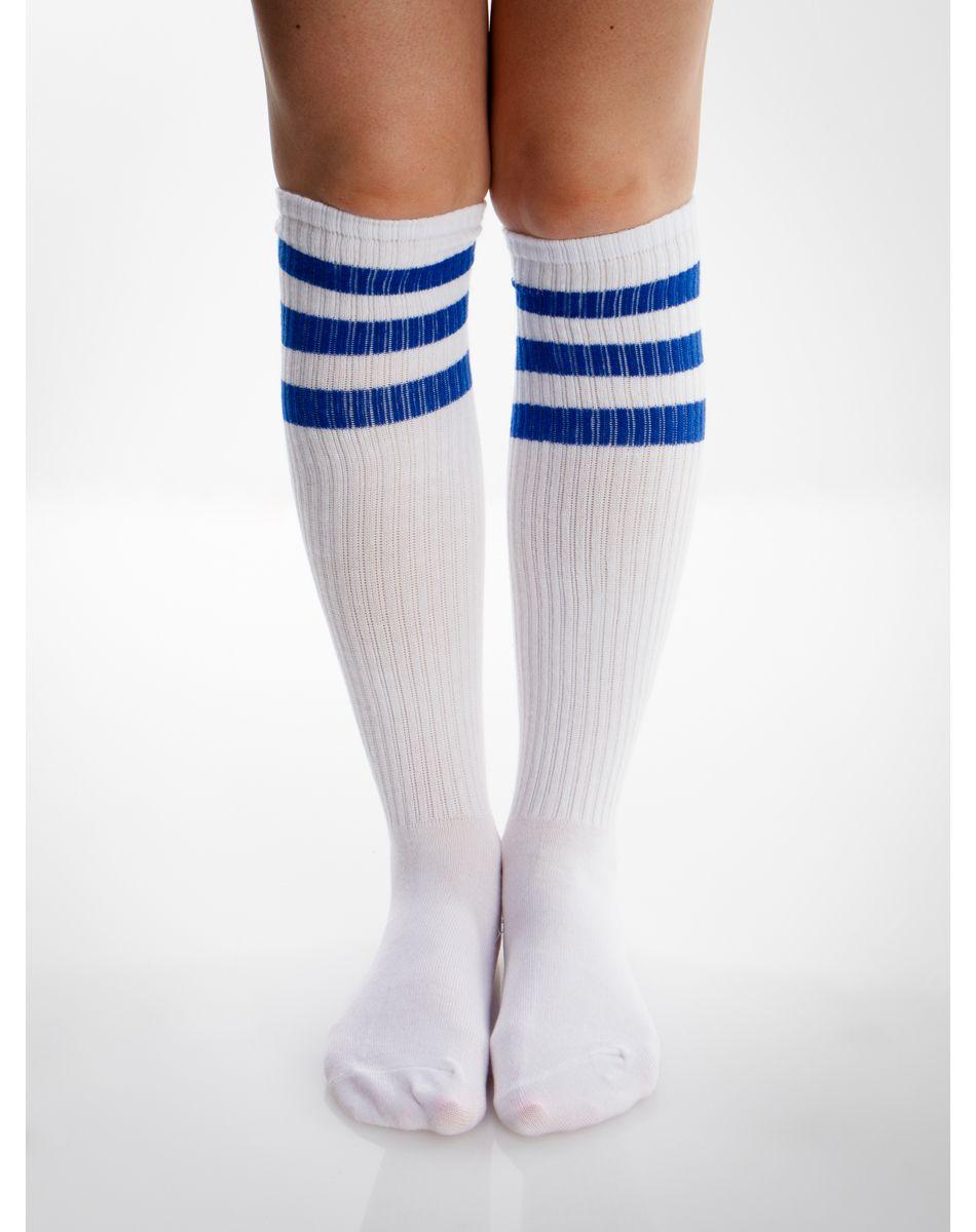 226d189af1ba2 White And Royal Blue Athletic Stripe Knee High Socks | Runcation ...