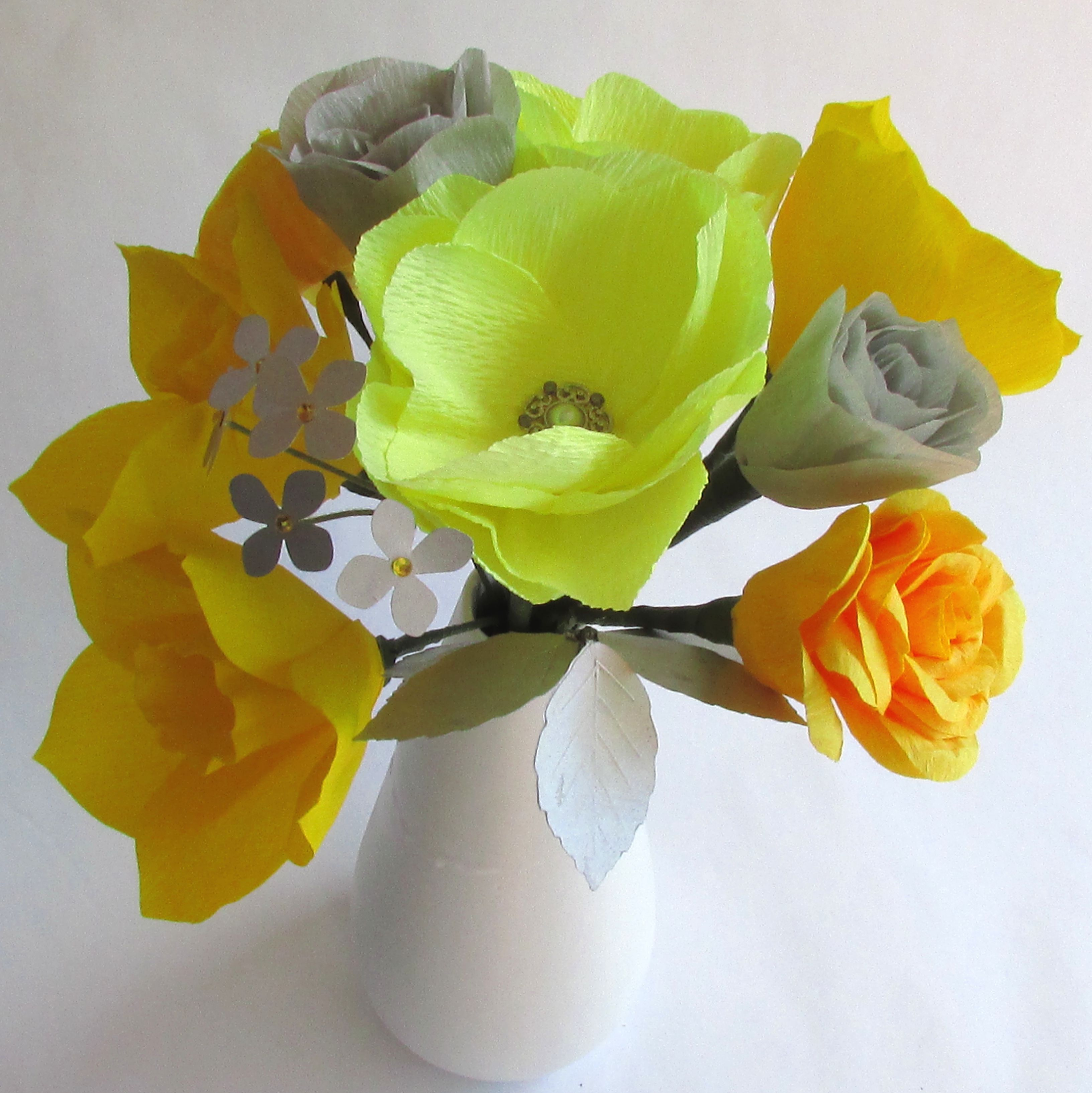 Yellow Flower Bouquet In Vase Yellow Gray Paper Bouquet Paper