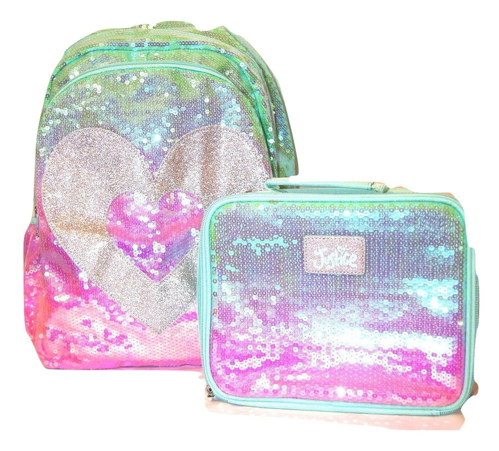 New Justice S School Backpack Lunch Box Set Sequin