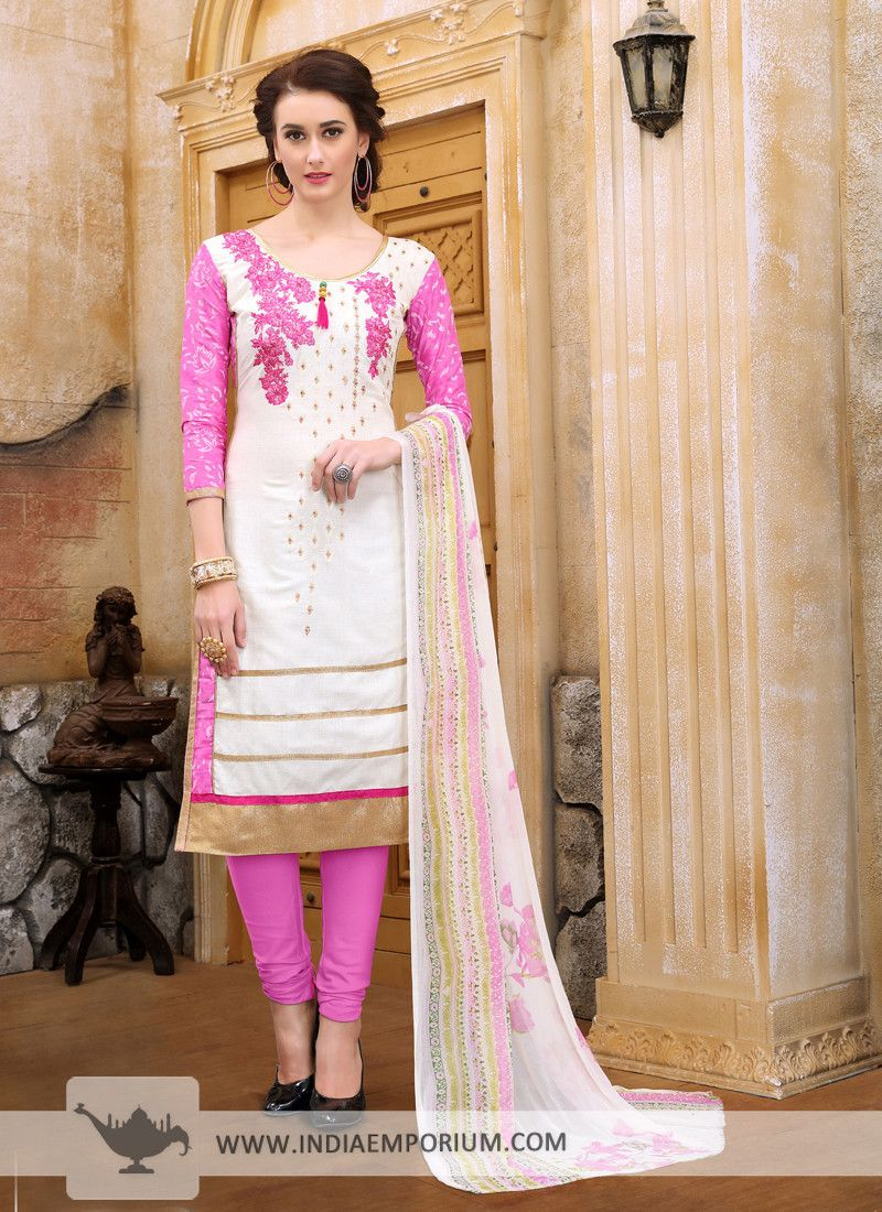 1756082381 Exotic Cotton Satin Off White & #Pink #Embroidered #Churidar #Suit ...