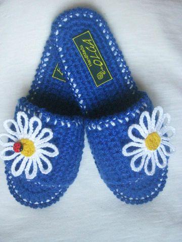 схема вязания женских тапочек крючком