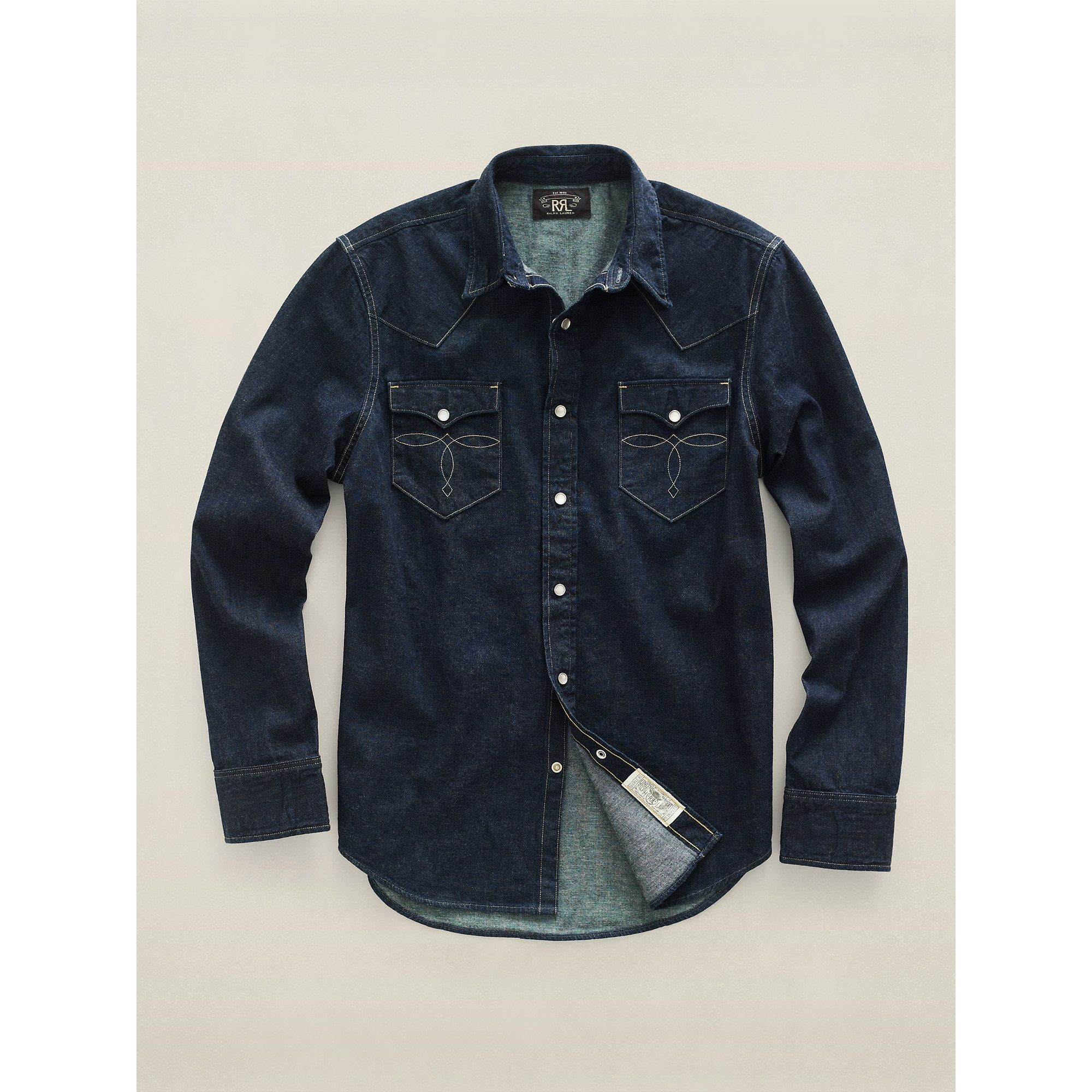 3e493eb51b Rrl Slim-fit Denim Western Shirt in Blue for Men