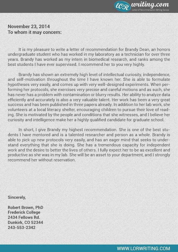 sample recommendation letter graduate school