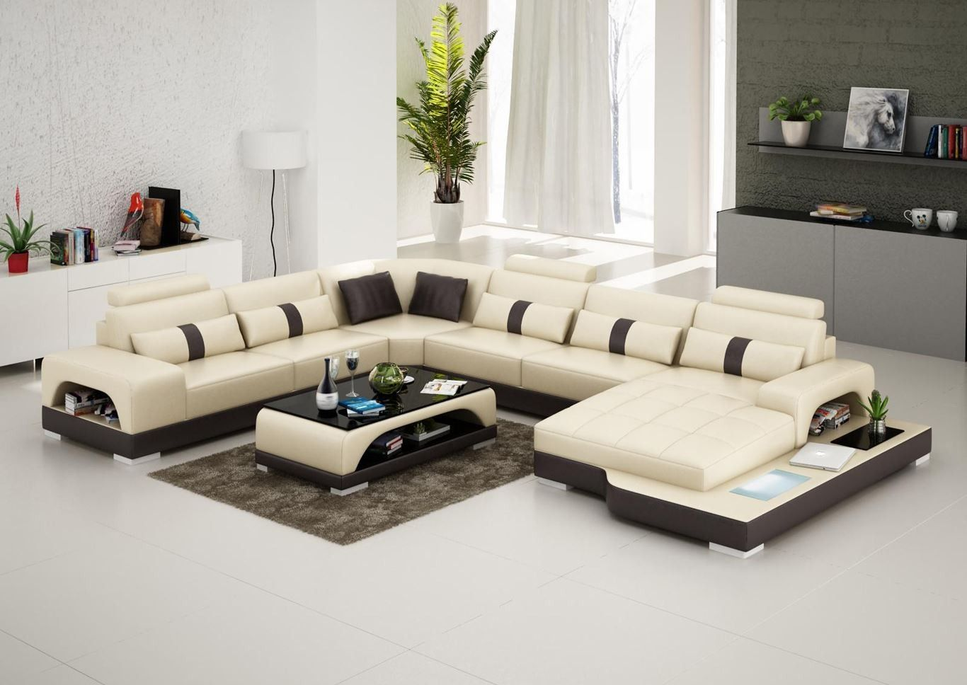 Connie Sectional Sofa - Leather Living Room Furniture ...