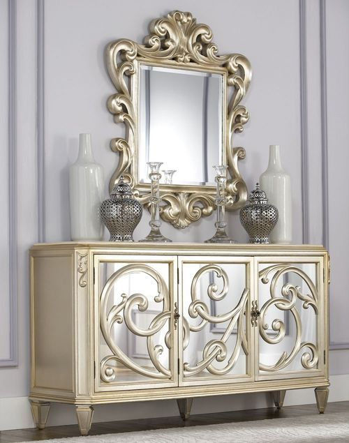 american drew jessica mcclintock silver leaf buffet w accent mirror sideboards. Black Bedroom Furniture Sets. Home Design Ideas