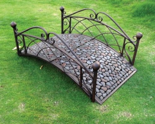 Great Nice Small Metal Outdoor Patio Bridge With Decorative Pebbles In Garden