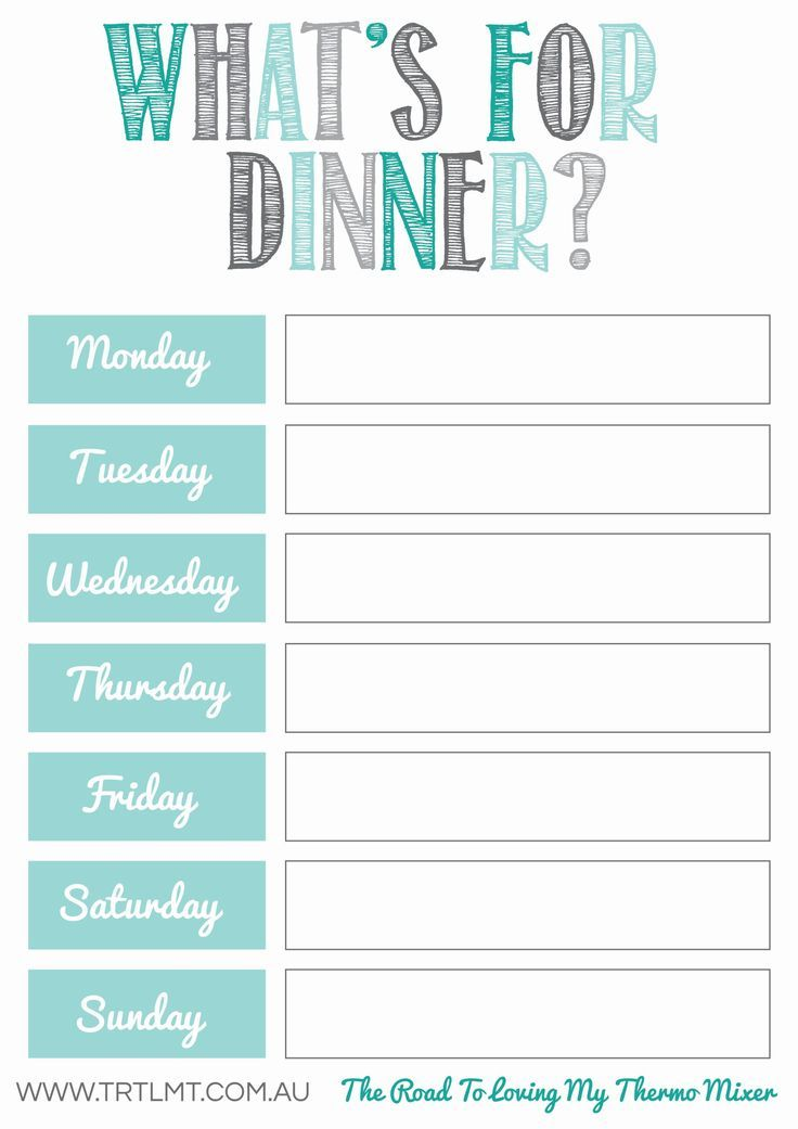 Whatu0027s For Dinner 2 FB Healthy Meals Pinterest What s - free week calendar template