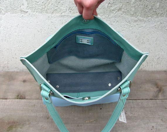 Bolsa de cuero con bolsillo con sobres bolsa de por erikasleather