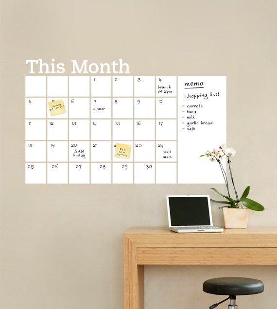 Dry Erase Wall Calendar With Memo Vinyl Wall Decal Dry Erase