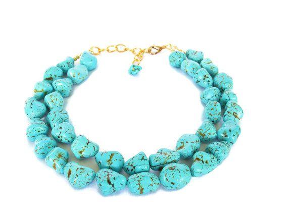 Turquoise Nugget Necklace Chunky Aqua Teal Turquoise By Wildflowersandgrace 49 00 Turquoise Statement Necklace Bridal Jewelry Turquoise Jewelry