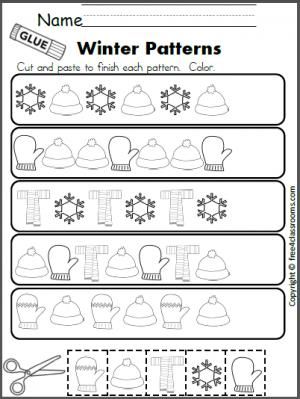 Free winter patterns cut and paste worksheet also best images on pinterest preschool time learning rh