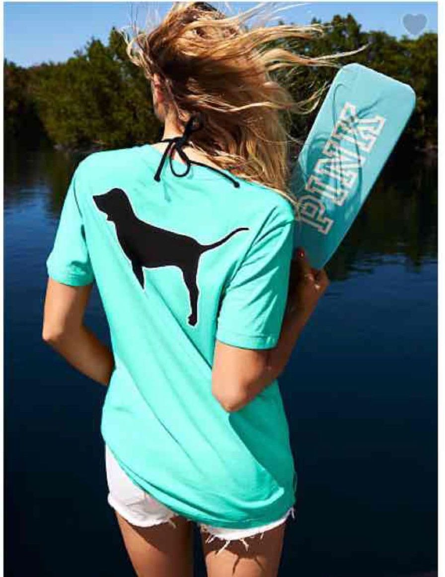 Black dog t shirt ebay - Victoria Secret Pink Campus Pocket T Shirt Tee Seafoam Blue Black Dog Xs Fit S In Clothing Shoes Accessories Women S Clothing T Shirts Ebay