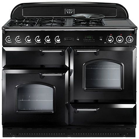 Rangemaster Classic 110 Dual Fuel Range Cooker Black Chrome Trim Gloss Black Range Cooker Freestanding Cooker Dual Fuel Range Cookers