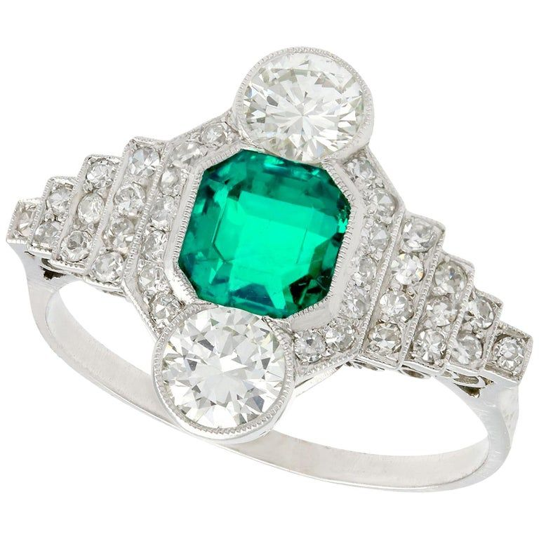 Antique French Emerald And 1 06 Carat Diamond Platinum Ring From A Unique Collection Of Vintage Cockt In 2020 Antique Emerald Ring Diamond Dress Ring Antique Jewelry