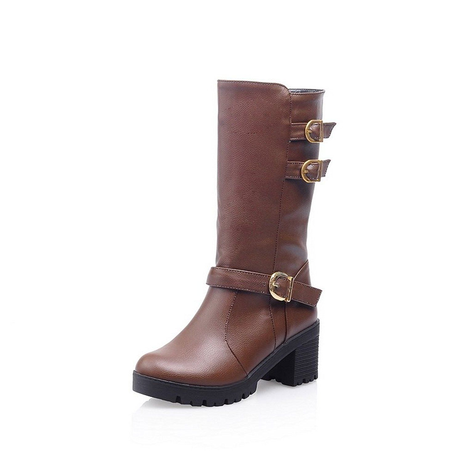 BalaMasa Womens Multilayer Metal Strap Studded Rhinestones Metal Buckles  Imitated Leather Boots -- Details can