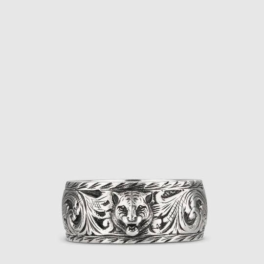 0eba8b501c Gucci Thin silver ring with feline head | My Style | Silver Rings ...