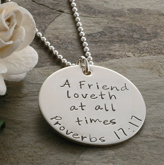 Friendship Quotes Jewelry: Best Friends Necklace Proverbs 1717 A Friend By