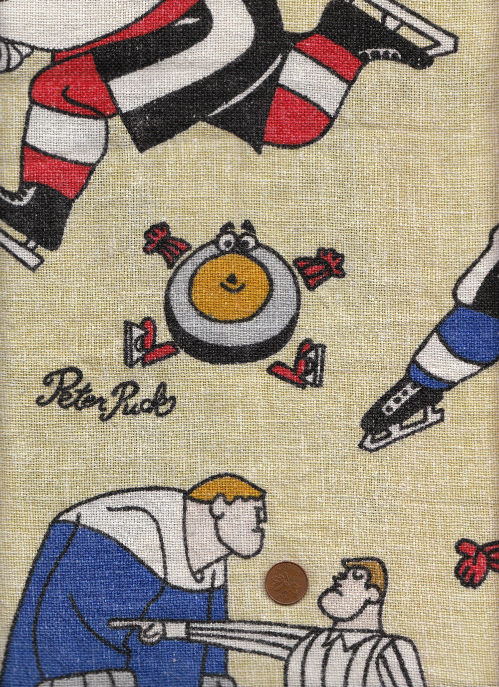 vintage 70s peter puck hockey novelty yellow cotton fabric