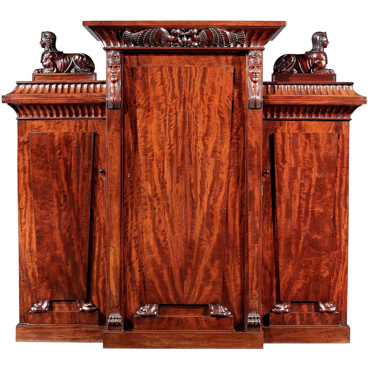 Rare Regency Cabinet in the Egyptian Manner | From a unique collection of antique and modern wardrobes and armoires at https://www.1stdibs.com/furniture/storage-case-pieces/wardrobes-armoires/