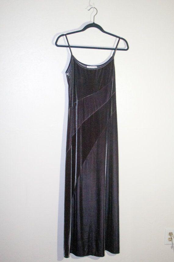 90s 1990s grey silver velvet maxi dress, formal evening gown ...