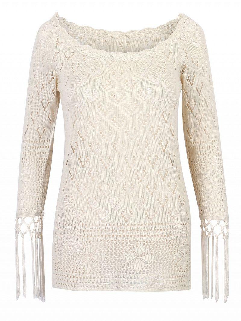 Crochet knitted fabricoff shoulder designlong sleevestasseled